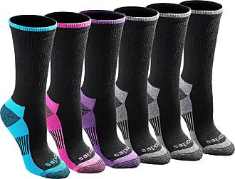 Dickies Womens Dri-Tech Advanced Moisture Wicking Crew Socks Casual, Black Fashion (6 Pairs), Shoe 4-7 UK (Pack of 6)
