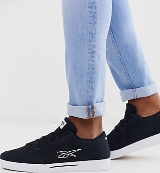 Reebok slice canvas trainers with vector logo in black