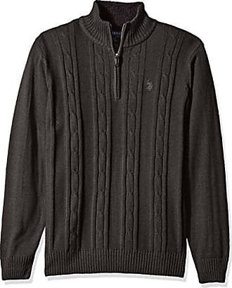 U.S.Polo Association Mens Solid Cable 1/4 Zip Sweater, Charcoal Heather, Small
