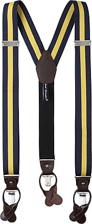 Jacob Alexander Mens Stripes Y-Back Suspenders Braces Convertible Leather Ends Clips - Navy Gold