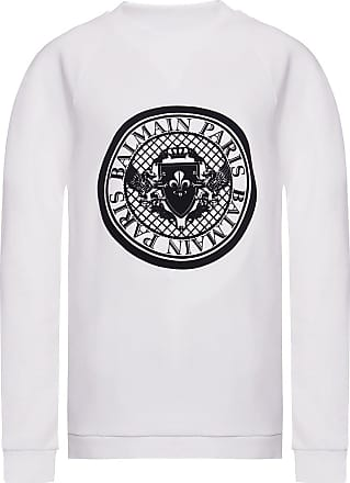 Balmain Sweatshirt With Velvet Logo Womens White