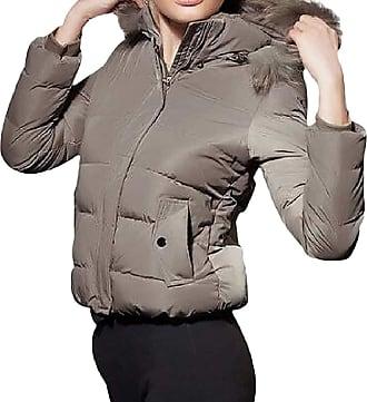 VITryst Womens Zipper Thicken Puffer Faux Fur Trim Hood Long Sleeve Pockets Short Jackets Outwear Jacket,2,Medium