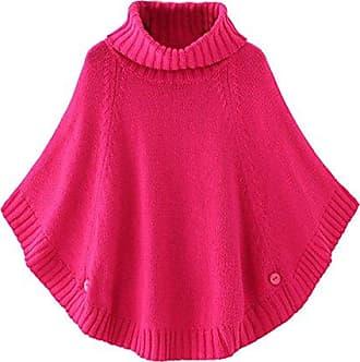 Cheerlife M/ädchen Damen Strick Poncho Cape Rundhals//Rollkragen Pullover Strickpullover Strickponcho Grobstrick Fledermaus Pulli Sweater Top