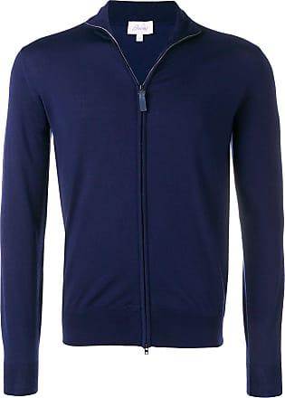 Brioni high neck zip front cardigan - Azul