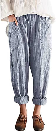 TOMWELL Womens Plus Size Elastic Waist Pants Relaxed Loose Casual Trousers Blue X-Large