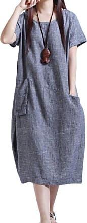 Abetteric Vestidos femininos Abetteric, com bolsos plus size, linho de algodão, solto, macio, Azul, XX-Large