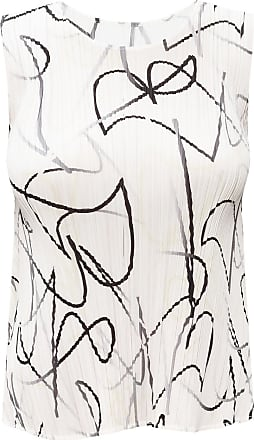 Issey Miyake Patterned Sleeveless Top Womens White