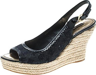 199e154788a4 Louis Vuitton Denim Monogram And Patent Leather Espadrilles Wedge Slingback  Sandals Size 39.5