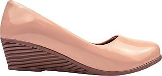 Eleganteria Sapato Scarpin Verniz Anabela Salto Médio Eleganteria Tamanho:35;Cor:Natural Nude