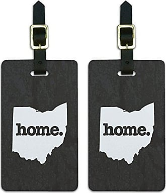 Graphics & More Graphics & More Ohio Oh Home State Luggage Suitcase Id Tags-Textured Dark Grey Gray, White
