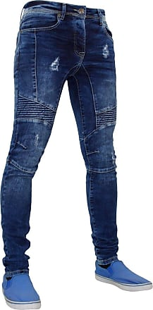 Enzo Jeans Men Skinny Slim Tapered Fit Ripped Biker Style Stretchable Denim Jeans (34R, Blue)