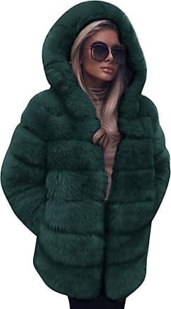 FNKDOR Women Fashion Faux Fur Coat Hooded Autumn Winter Warm Overcoat Green