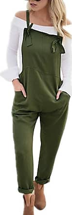 TOMWELL Women Retro Casual Loose Soft and Breathable Overall Strap Sleeveless Long Playsuit Romper Harem Jumpsuit Dungarees Army Green UK 12