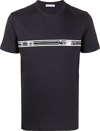 Moncler Camiseta com logo e listras - Azul