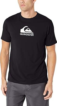 Quiksilver Mens Solid Streak Short Sleeve Rashguard UPF 50+ Sun Protection Rash Guard Shirt, Black, X-Large