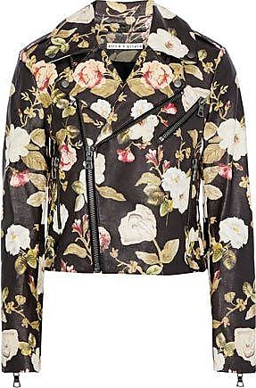 Alice & Olivia Alice + Olivia Woman Cody Cropped Floral-print Leather Biker Jacket Multicolor Size XS