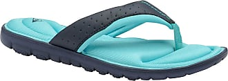 Dunlop Flip Flops Toe Post Slip On Sandals Flat Cushioned (8 UK, Navy/Jade)