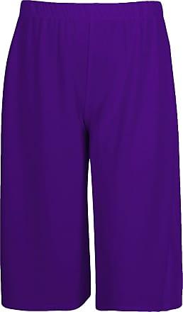 Momo & Ayat Fashions Ladies Jersey Lightweight Wide Leg Culottes 3/4 Length Pants UK Size 8-26 (Purple, L/XL (UK 16-18))