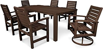 POLYWOOD Outdoor POLYWOOD Signature 7 Piece Harvest Swivel Dining Set - Seats 6, Patio Furniture - PWS264-1-13WH