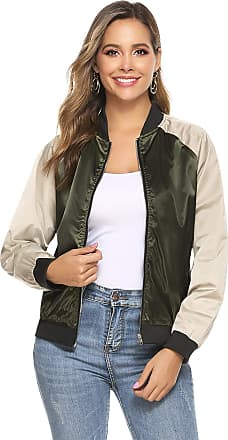 Aibrou Women Bomber Jacket Casual Lightweight Zip Up Softshell Flight Coat Classic Jacket with Pockets Army Green 2