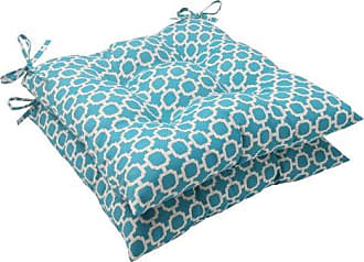 Pillow Perfect Outdoor Hockley Tufted Seat Cushion, Teal, Set of 2