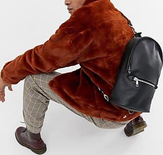 5857f75cfb148 Asos Rucksack zum Umhängen aus schwarzem Kunstleder - Schwarz