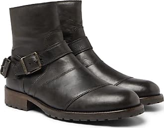Belstaff Trialmaster Distressed Leather Boots - Black