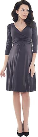 Purpless Maternity Classic Pregnancy Dress Vneck A line D4400 (14, Graphite)
