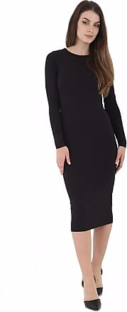 ZEE FASHION Womens Ladies Celebrity Inspired Long Sleeve Bodycon Midi Calf Length Dress - Normal and Big Sizes (S/M (8-10), Black)