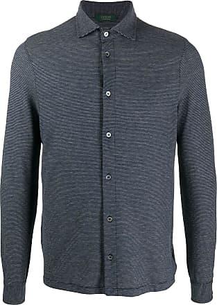 Zanone Camisa mangas longas com estampa de listras - Azul