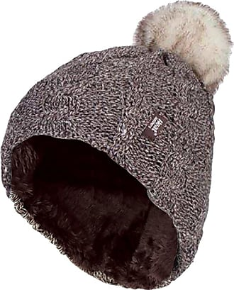 Heat Holders Ladies Warm Knit Fleece Lined Cuffed Thermal Winter Bobble Hat with Pom Pom (One Size, Fawn)