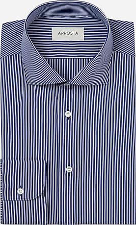 Apposta Camicia righe blu stretch popeline, collo stile collo francese aggiornato a punte corte