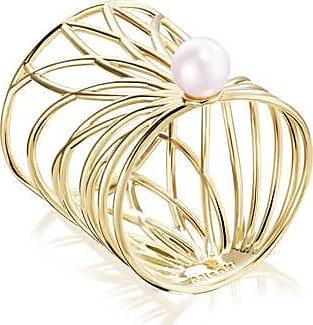 Misaki Bague large Smooth dorée avec perle de culture rose - taille 50