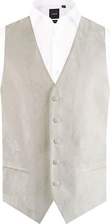 Dobell Mens Ivory Paisley Waistcoat Regular Fit 5 Button Wedding-3XL (54-56in)