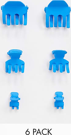 Asos pack of 6 mini hair claws in BLUE