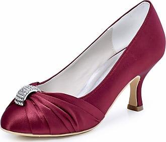 Elegantpark HC1526 Womens Pumps Satin Rhinestones Closed Toe Mid Heel Wedding Party Dress Court Shoes Burgundy UK 5