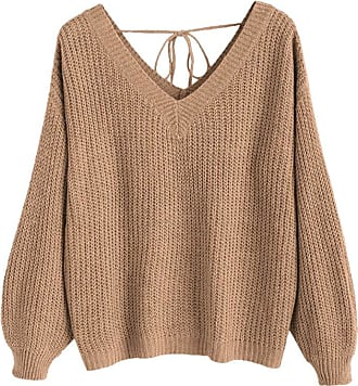 Zaful Womens V-Neck Lace Up Drop Shoulder Pullover Oversized Knit Sweater(Camel Brown,M)