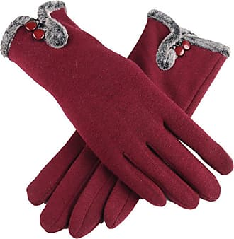 iShine Womens Screen Touch Gloves Winter Thick Warm Weather Lined Smart Texting Gloves Windproof Mittens (Style 2-Wine Red)