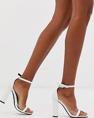 Glamorous Filigrane Sandalen mit Blockabsatz und Schlangeneffekt-Weiß