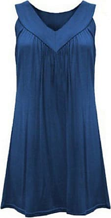 Abetteric Túnica feminina Abetteric sem mangas gola V plissada cor pura conforto camiseta túnica, Azul marinho, US 3X Large