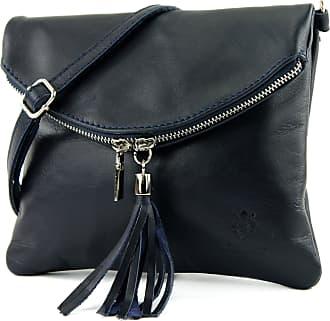 modamoda.de Ital. Leather Clutch Shoulder Bag Underarm Shoulder Bag Girl Small Nappa Leather T139, Colour:T139 Dark Blue