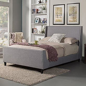 Alpine Furniture 1094Q Upholstered Bed, Queen, Gray