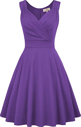 Grace Karin Dinner Dance Dress Vintage Event High Tea Dress Rockabilly Ruffled A-line Flared Dress M Purple