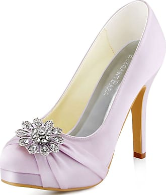 Elegantpark EP2015-PF Women Pumps Closed Toe Platform High Heel Buckle Satin Evening Wedding Court Shoes Lavender UK 2