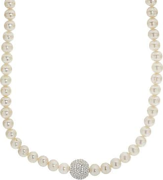 Zales 8.0 - 8.5mm Baroque Cultured Freshwater Pearl and Crystal Ball Strand Necklace in Sterling Silver