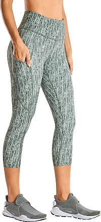 CRZ YOGA Womens Naked Feeling High Waist Crop 3/4 Gym Leggings Running Yoga Capri with Side Pocket 19 Inches Stripe Multi 3 10