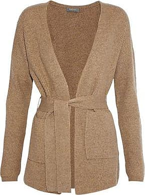 N.Peal N.peal Woman Belted Ribbed Cashmere Cardigan Sand Size XL