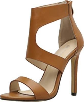 Mediffen Dieenia Sandals Women Classic High Heel Sandals Open Toe Summer Sandals Zip Rome Sandals Stiletto Brown Size 7.5 UK/42