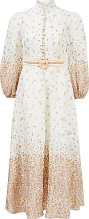 Zimmermann Leinenkleid Carnaby mit floralem Muster Weiß