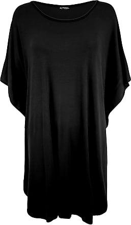 Be Jealous Womens Round Neck Oversized Batwing Sleeves Dress Black Plus Size (UK 24/26)